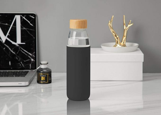 500ml Glass Travel Water Bottle With Silicone Sleeve Black Color