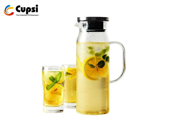 Durable Large Glass Water Pitcher , Lead Free Water Pitcher With Lid
