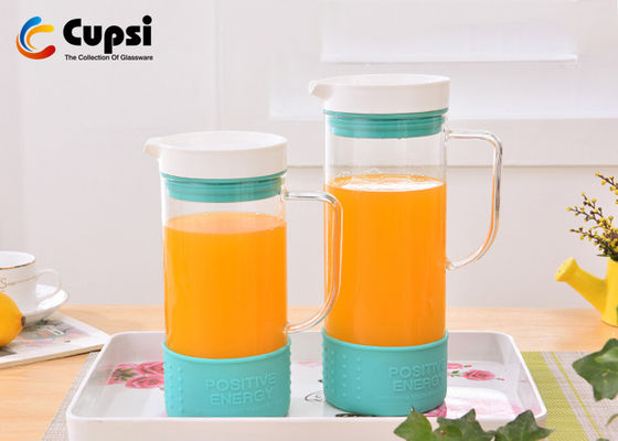 Silicone Base 1000ml Borosilicate Glass Pitcher Optional Colors BPA Free