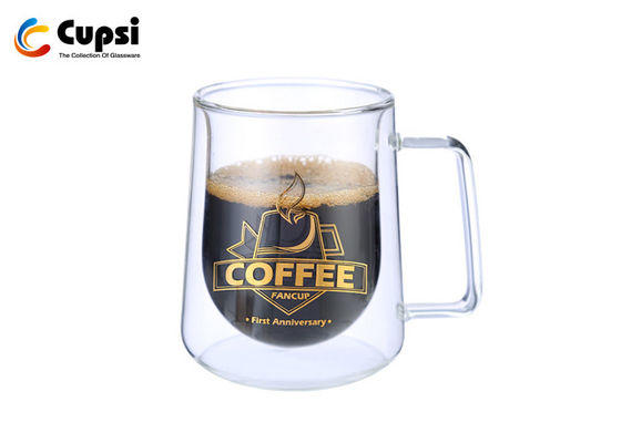 Clear Double Wall Glass Cup , Double Insulated Glass Coffee Mugs