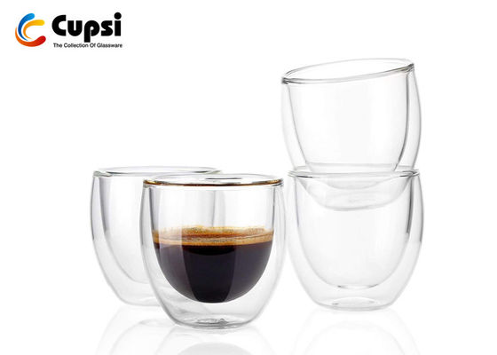 Transparent 100ml / 200ml Double Wall Glass Cup , Double Wall Espresso Cups