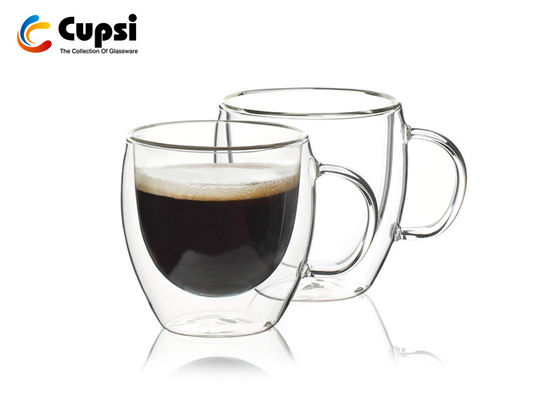 High Borosicliate 300ml  Double Wall Coffee Cups With Handle Heat Resistant