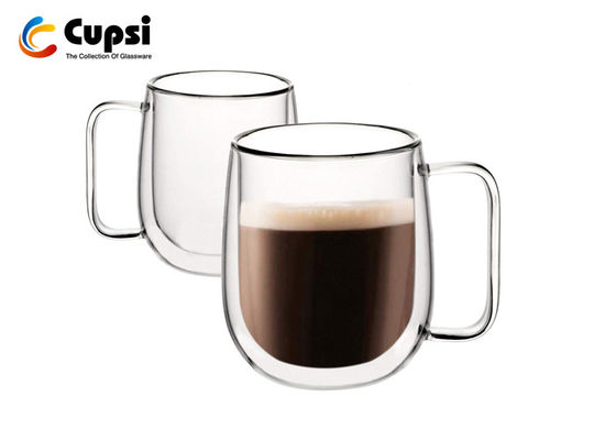 Americano / Latte Double Wall Glass Cup With Handles 250ml Temperature Resistant