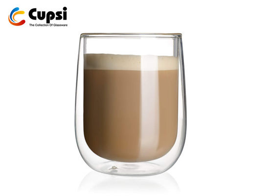 Eco - Friendly Double Wall Glass Cup Practical Design For Beverage / Cappuccino