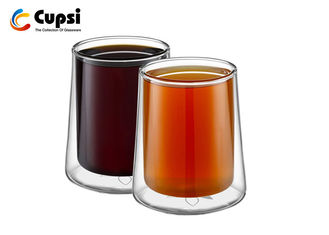300ml Borosilicate Double Insulated Coffee Cups , Heat Resistant Double Wall Glass Tea Cup