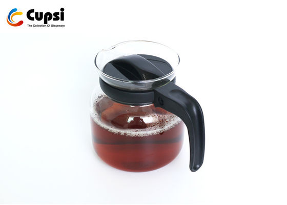 600ml Black Borosilicate Glass Coffee Pot Eco Friendly With Plastic Lid And Handle