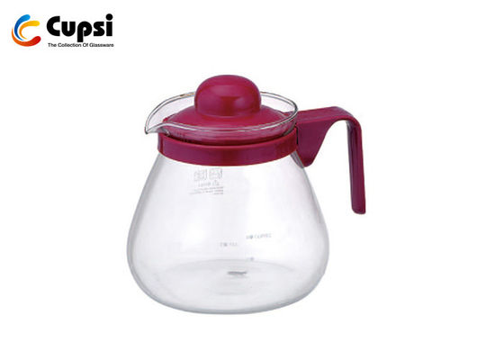 Red 800ml Coffee Pot Server Heat Resistant High Borosilicate Glass OEM Available