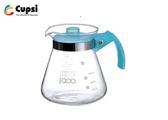 Blue 1000ml  Pour Over Coffee Server High Borosilicate Glass BPA Free Removable Lid