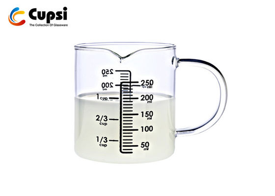China Eco Friendly Glass Measuring Cup 1 Cup / 250ml High Borosilicate Microwavable supplier