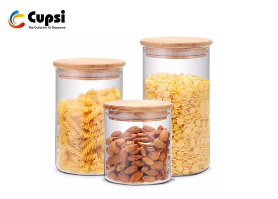 Transparent Clear Glass Containers With Lids For Food Storage Airtight