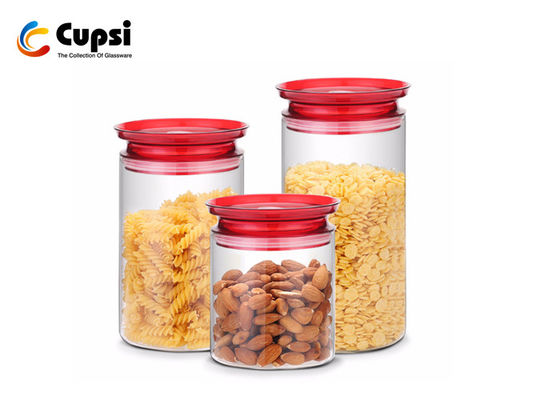 1000ml Airtight Lid Glass Food Storage Canisters With Silicone Sealing Ring