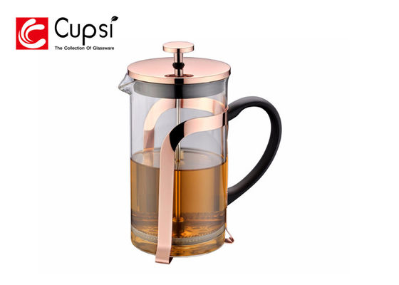 China 1000ml Copper Color Gold Plating French Press  , Borosilicate Glass 34 Oz French Press supplier