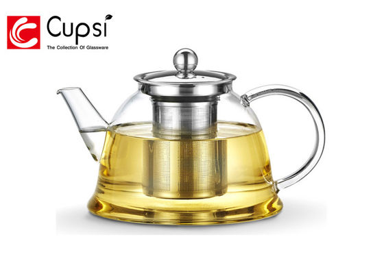 China Classic Shape Glass Teapot Stovetop Safe , Transparent Heat Resistant Glassware supplier