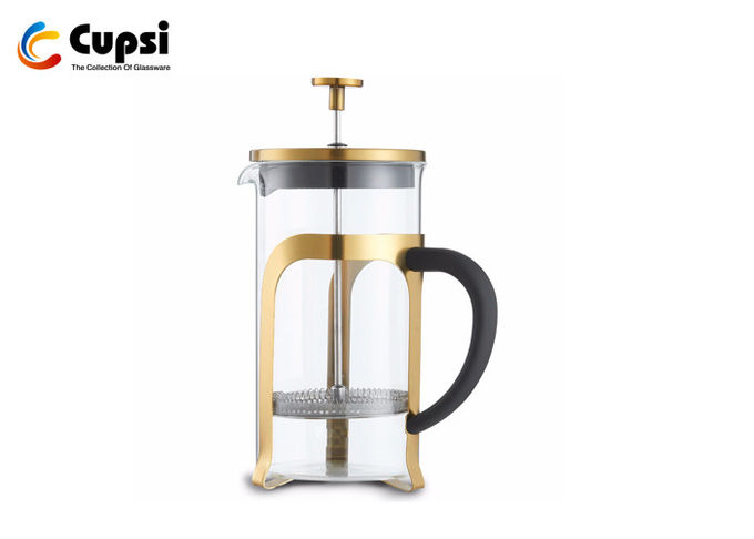 1000ml Copper Color Gold Plating French Press  , Borosilicate Glass 34 Oz French Press