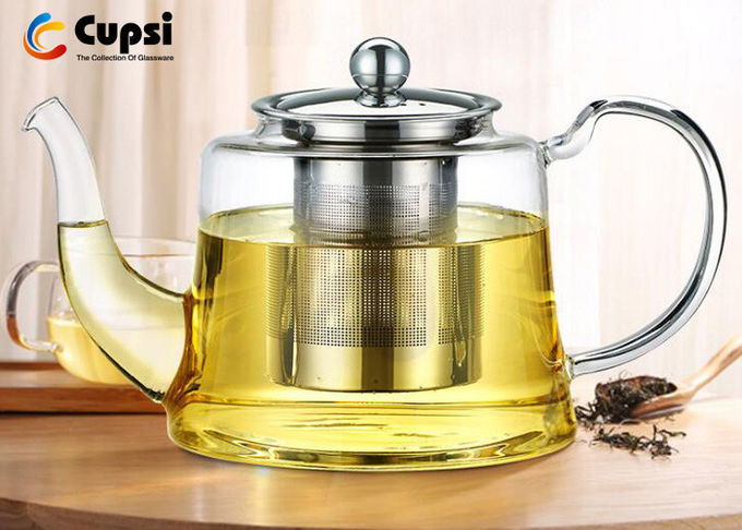 Loose Leaf Borosilicate Glass Teapot 1100ml With Stainless Steel Infuser