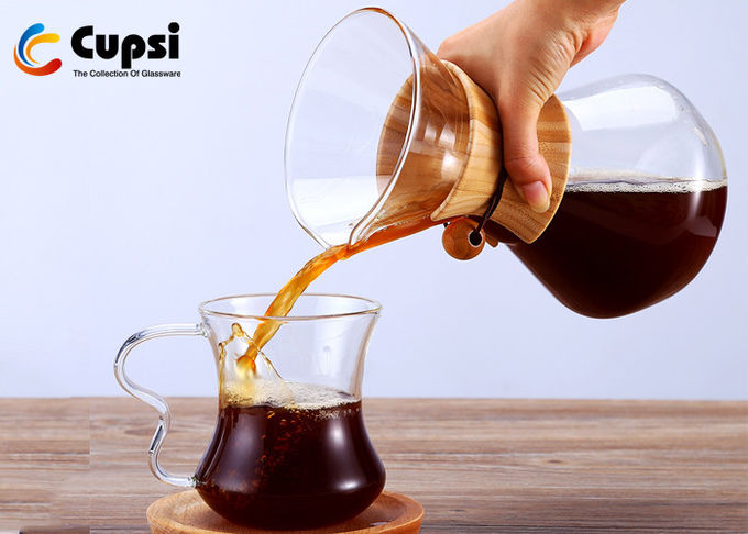 Elegant Design Glass Pour Over Coffee Maker 1000ml Durable  High Strength